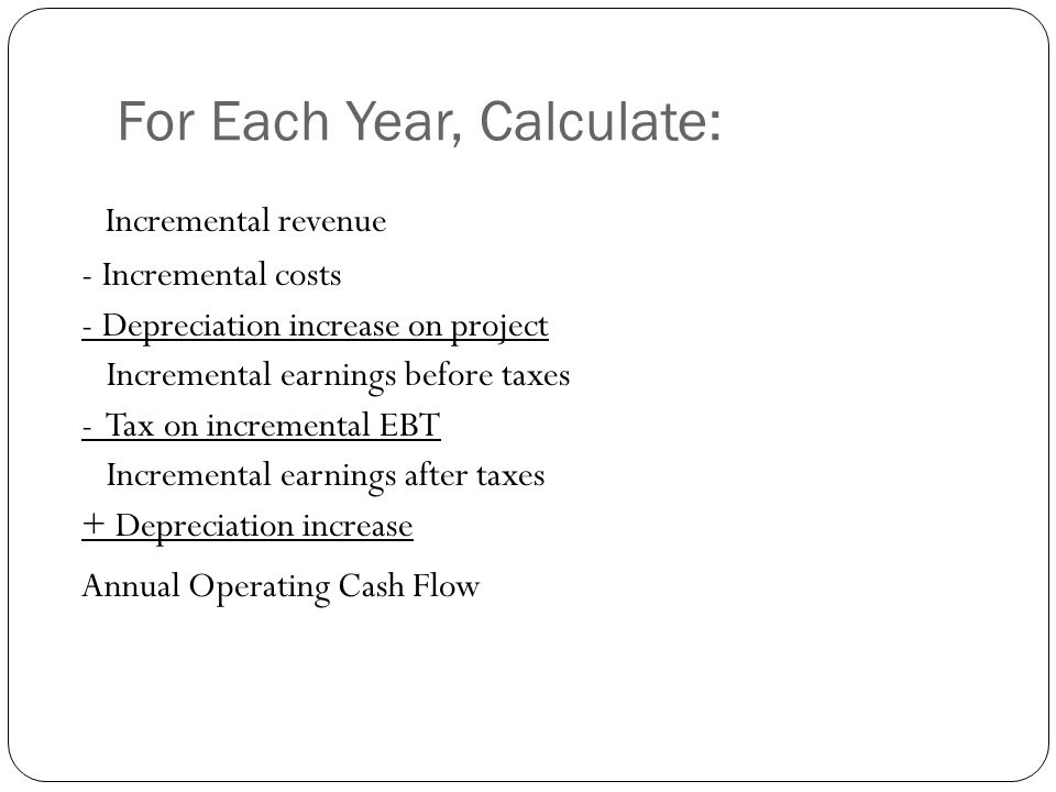 For Each Year, Calculate: