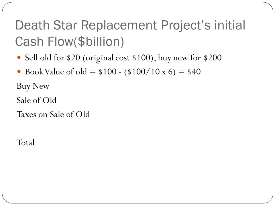 Death Star Replacement Project's initial Cash Flow($billion)