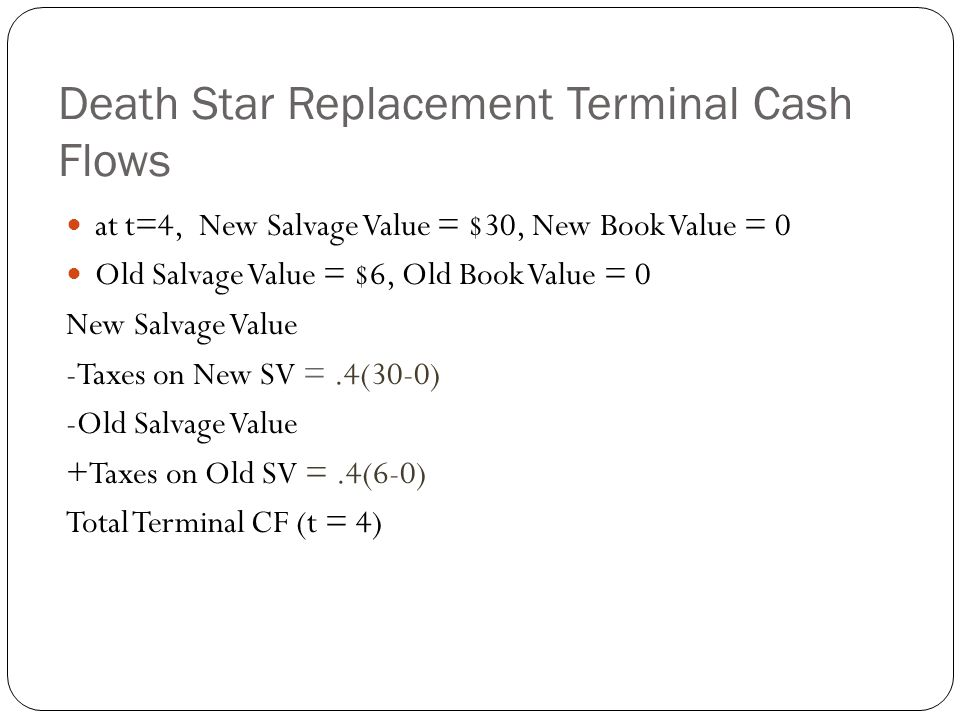 Death Star Replacement Terminal Cash Flows