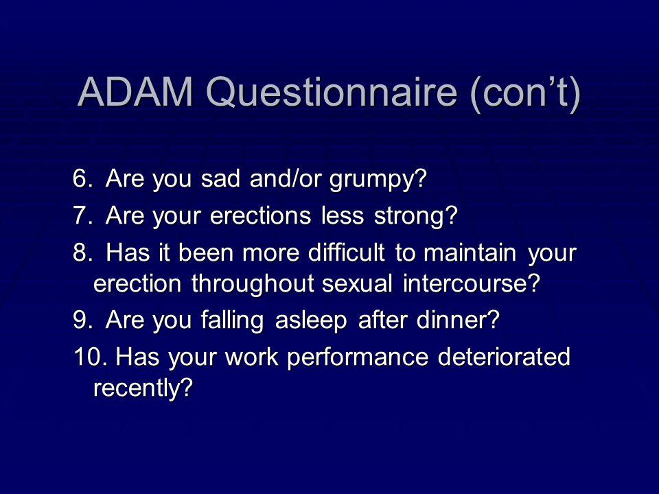 ADAM Questionnaire (con't)