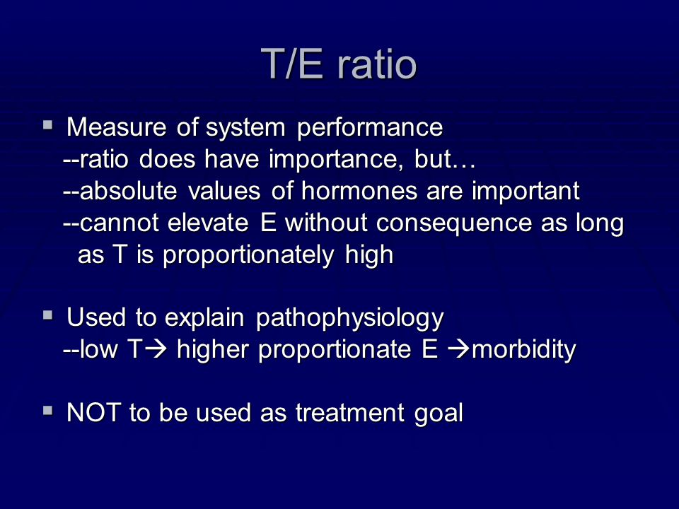 T/E ratio Measure of system performance