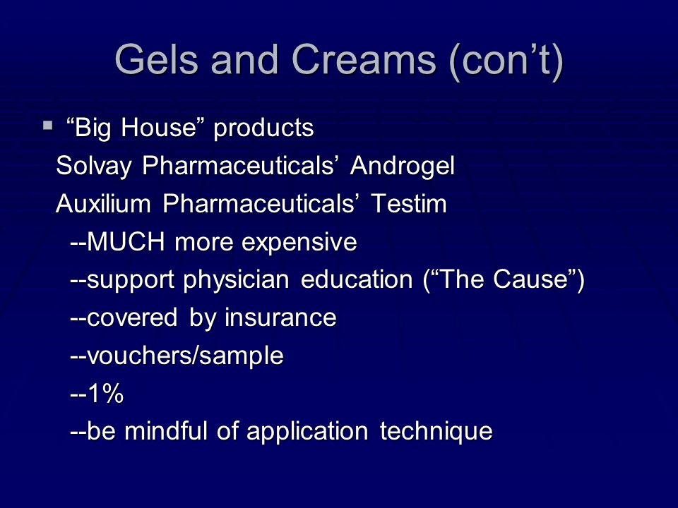 Gels and Creams (con't)