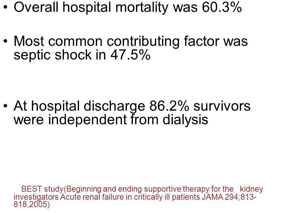 Overall hospital mortality was 60.3%