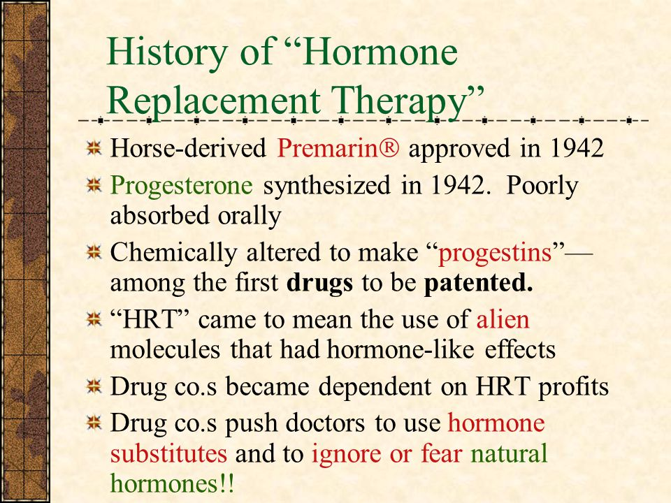 History of Hormone Replacement Therapy