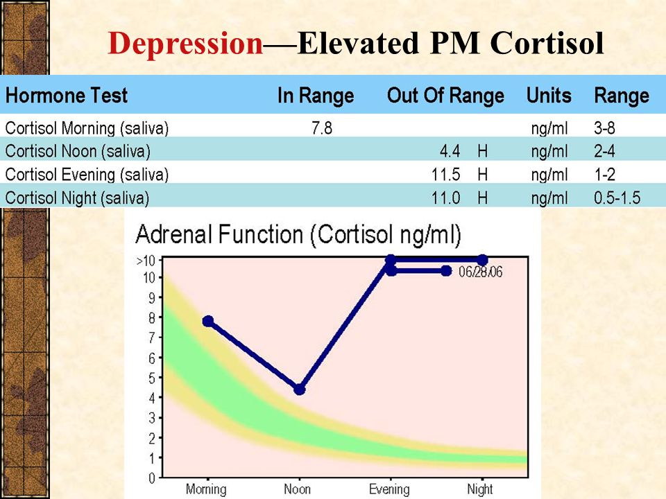 Depression—Elevated PM Cortisol
