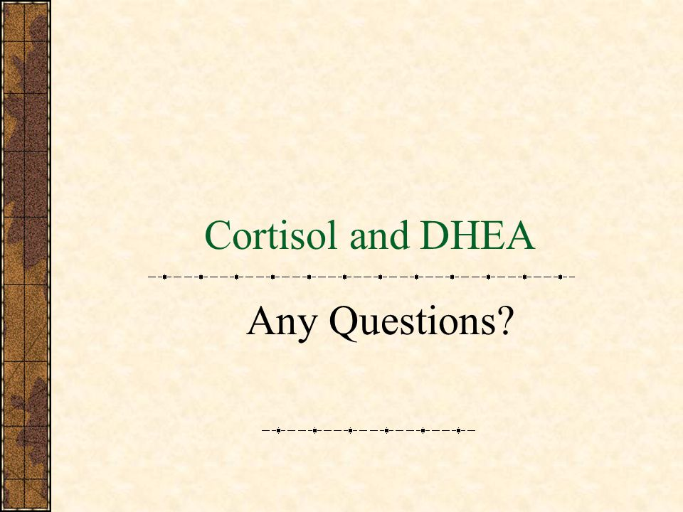 Cortisol and DHEA Any Questions