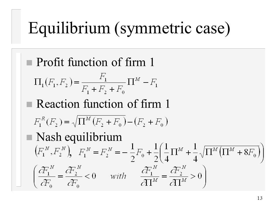 Equilibrium (symmetric case)