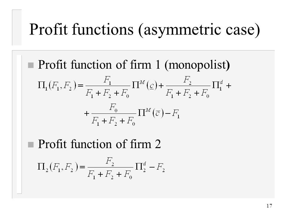 Profit functions (asymmetric case)