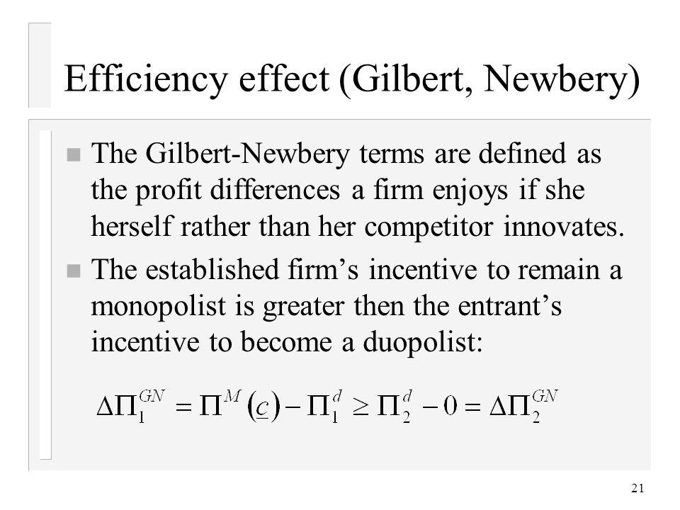 Efficiency effect (Gilbert, Newbery)