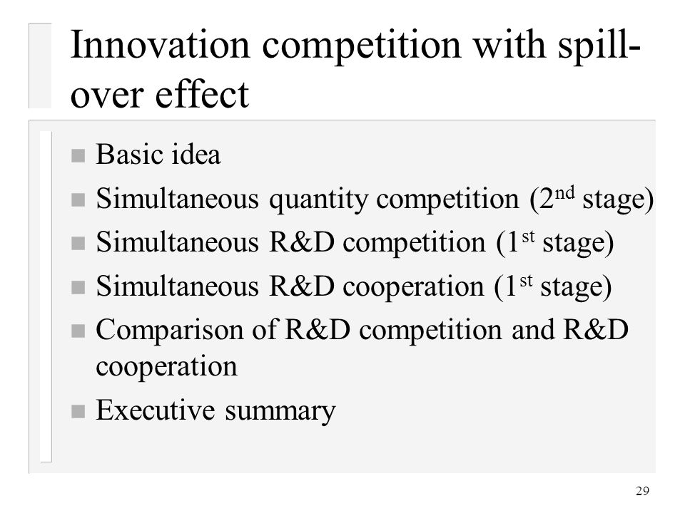 Innovation competition with spill-over effect