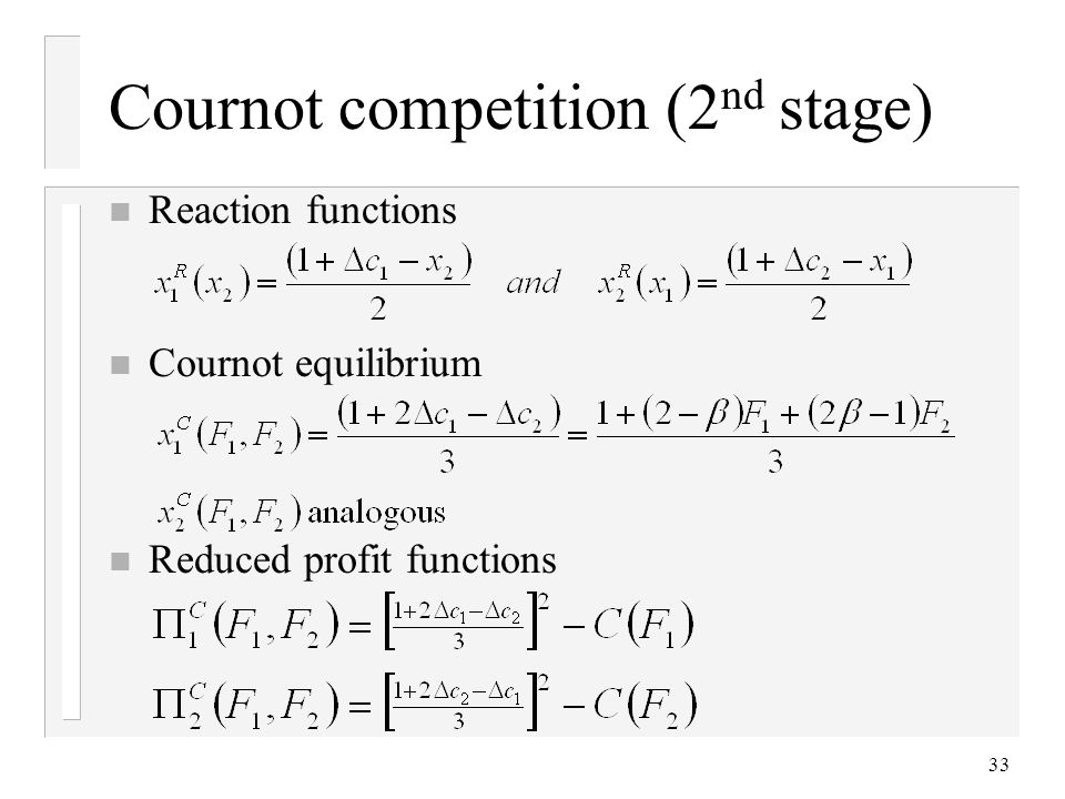 Cournot competition (2nd stage)
