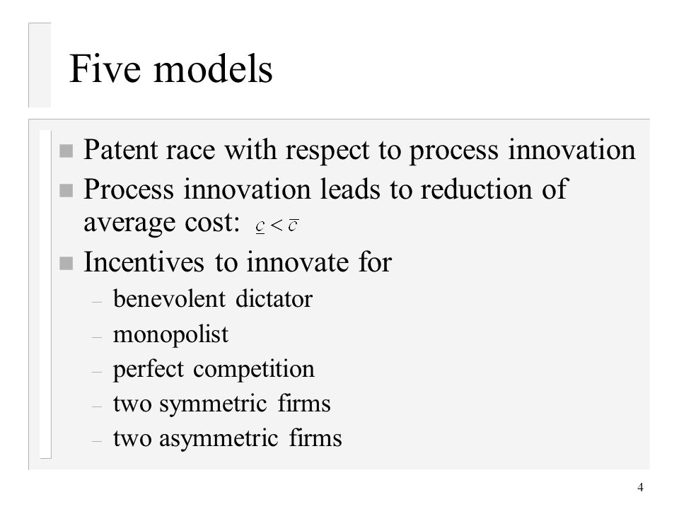 Five models Patent race with respect to process innovation