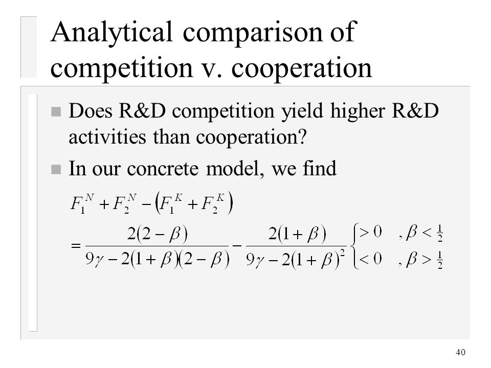 Analytical comparison of competition v. cooperation