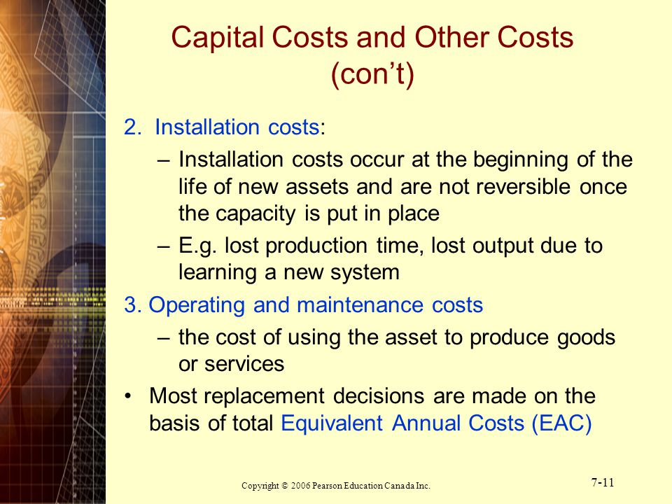 Capital Costs and Other Costs (con't)