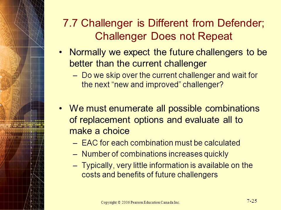 7.7 Challenger is Different from Defender; Challenger Does not Repeat