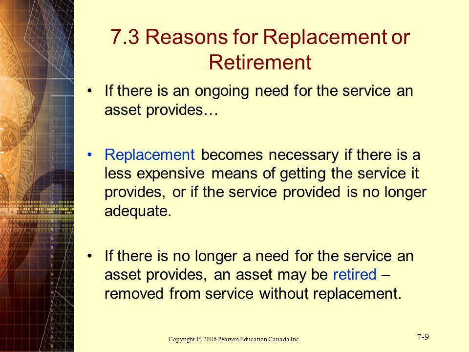 7.3 Reasons for Replacement or Retirement