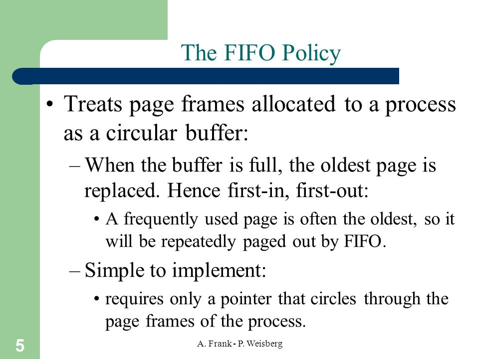 Treats page frames allocated to a process as a circular buffer: