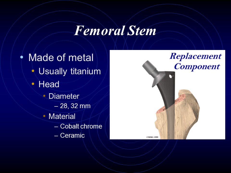 Femoral Stem Made of metal Usually titanium Head Diameter Material