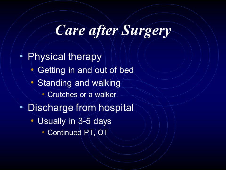 Care after Surgery Physical therapy Discharge from hospital