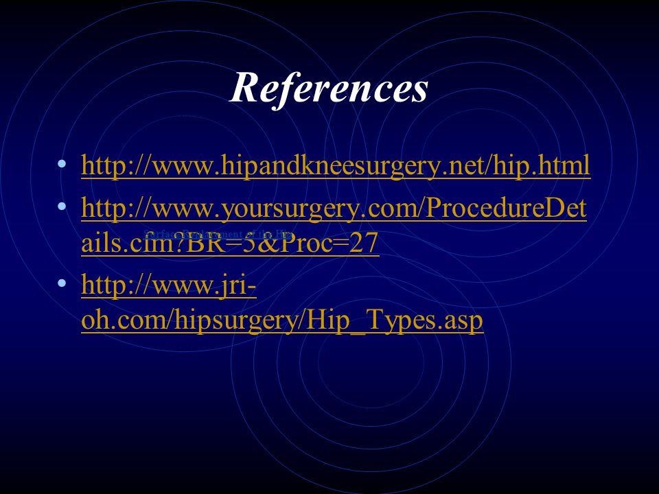 References http://www.hipandkneesurgery.net/hip.html