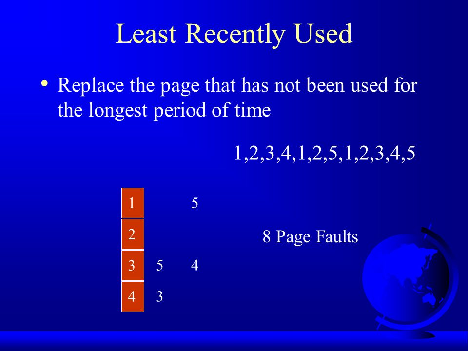Least Recently Used Replace the page that has not been used for the longest period of time. 1,2,3,4,1,2,5,1,2,3,4,5.