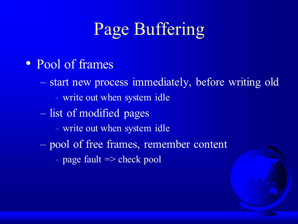 Page Buffering Pool of frames