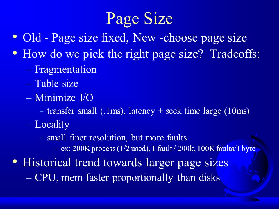 Page Size Old - Page size fixed, New -choose page size