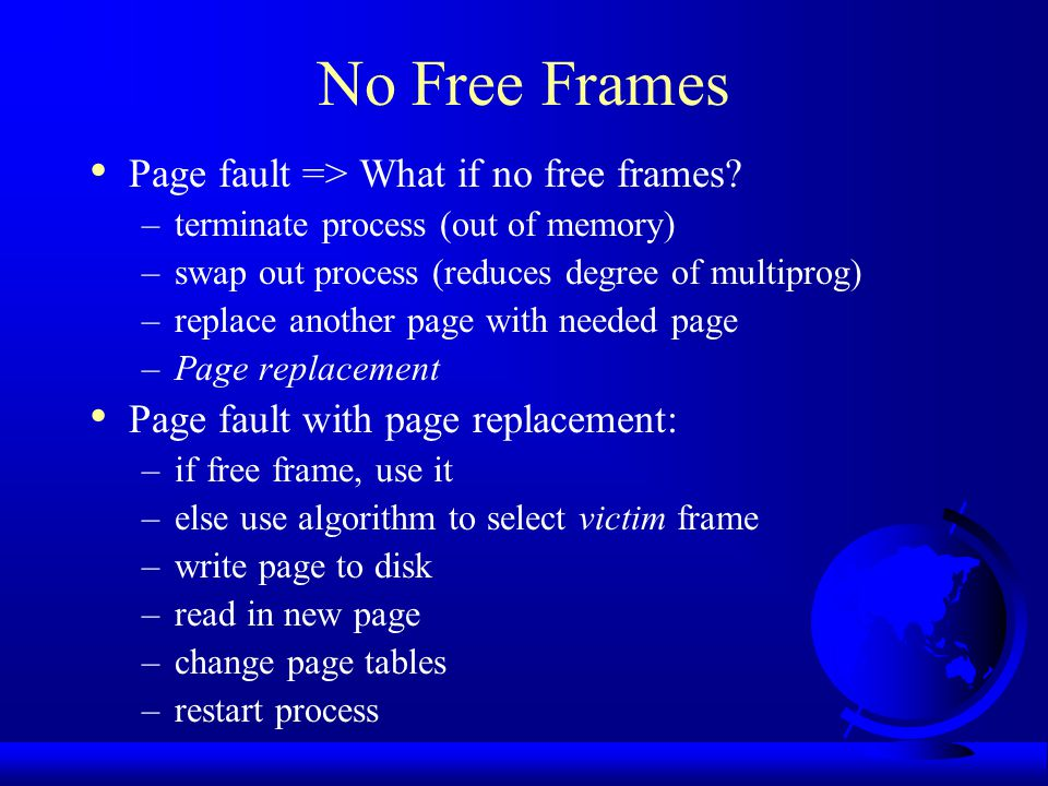 No Free Frames Page fault => What if no free frames