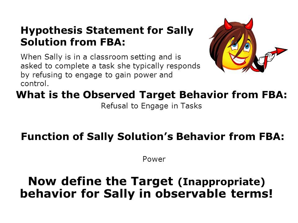 Function of Sally Solution's Behavior from FBA: Power
