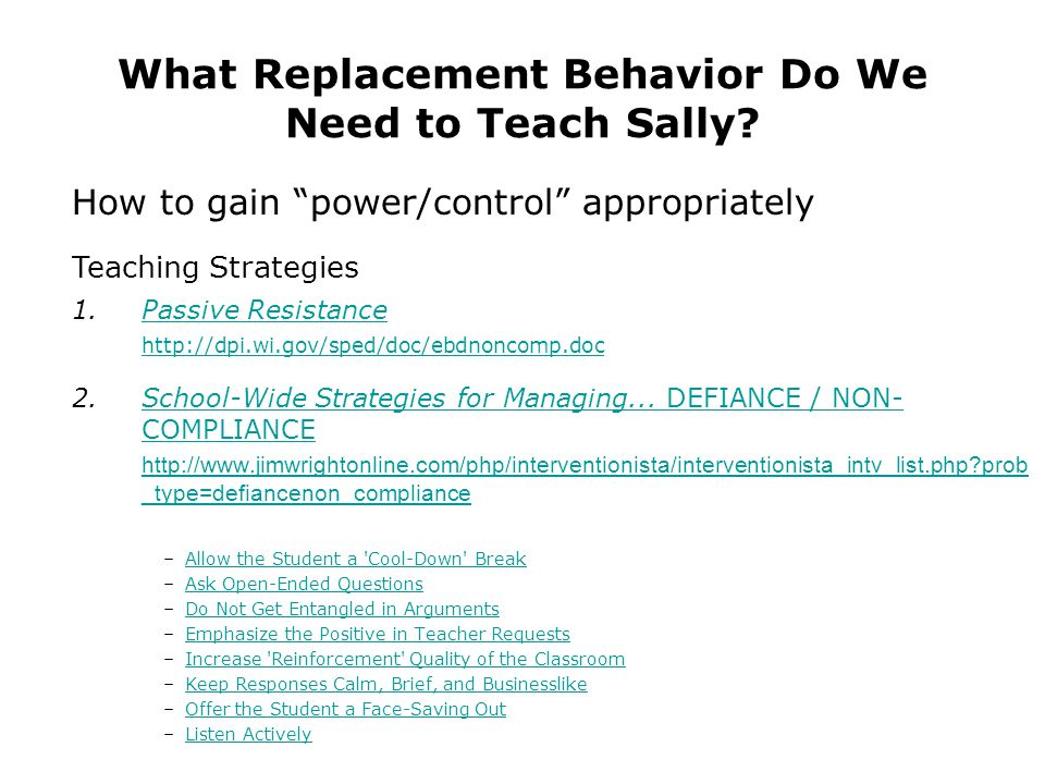 What Replacement Behavior Do We Need to Teach Sally