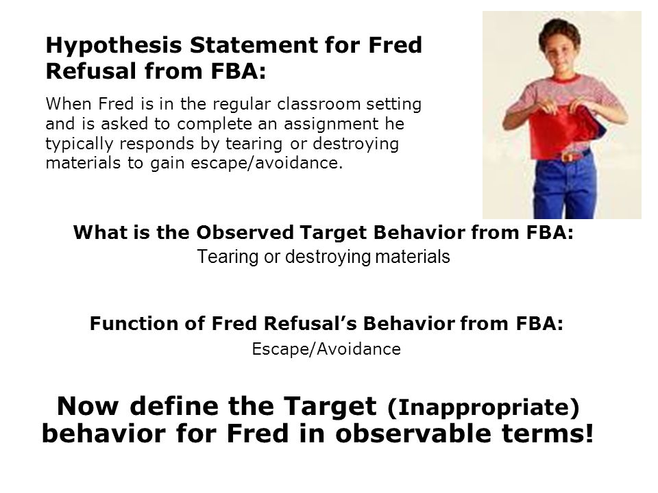 Function of Fred Refusal's Behavior from FBA: Escape/Avoidance