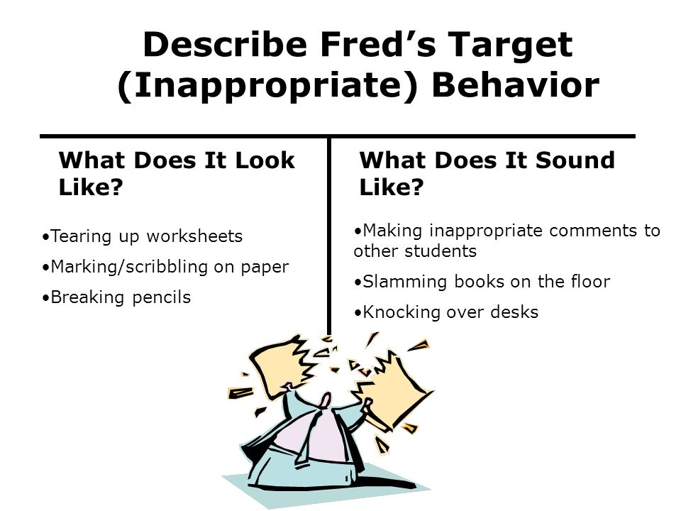 Describe Fred's Target (Inappropriate) Behavior