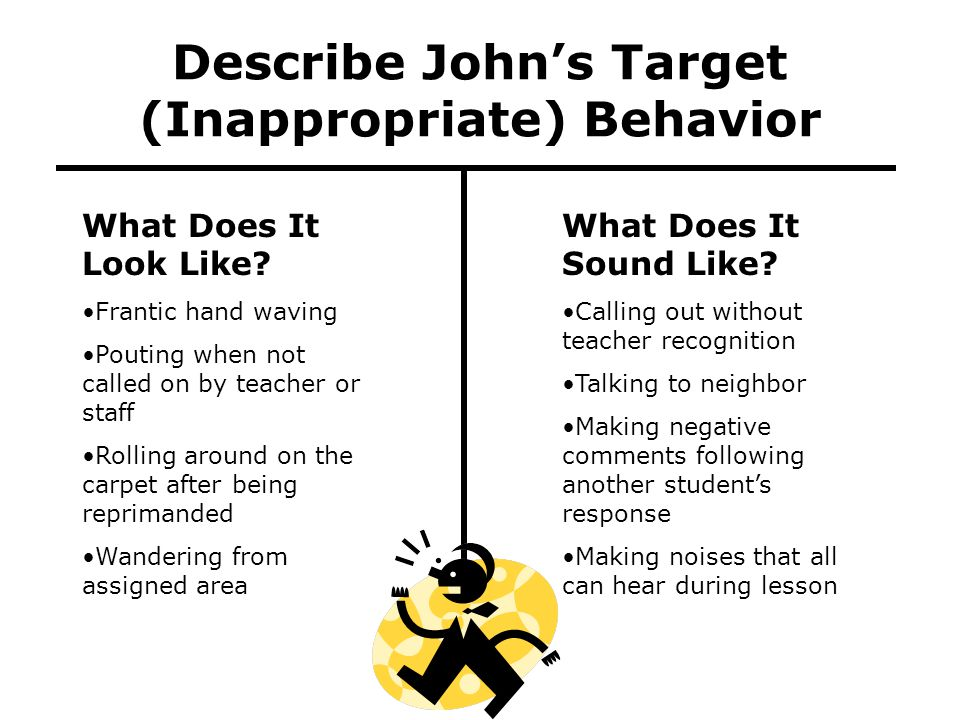 Describe John's Target (Inappropriate) Behavior