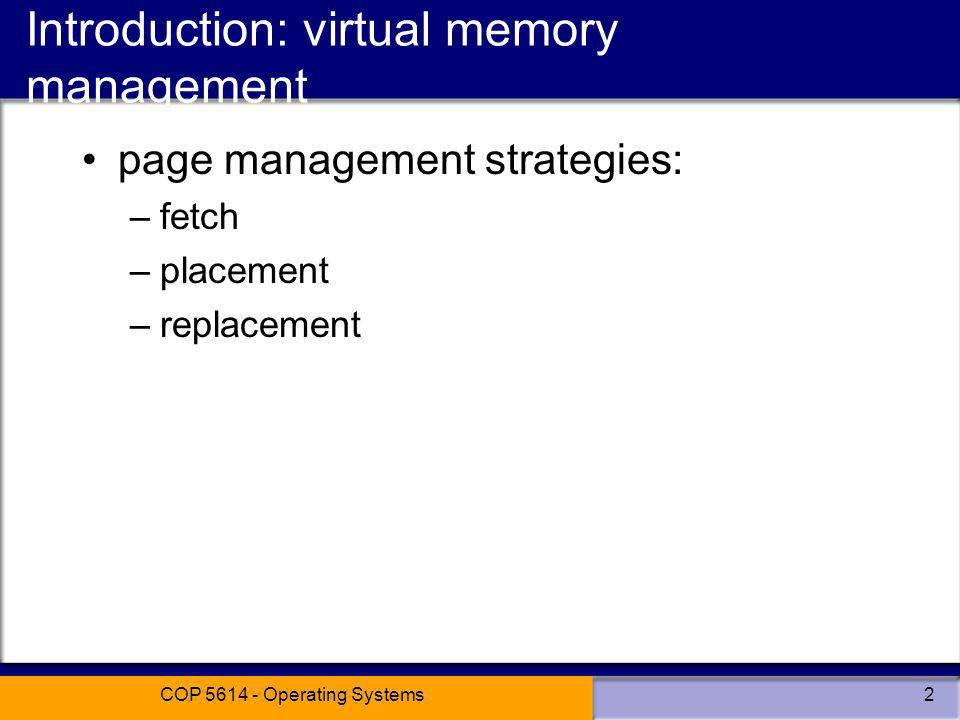 Introduction: virtual memory management