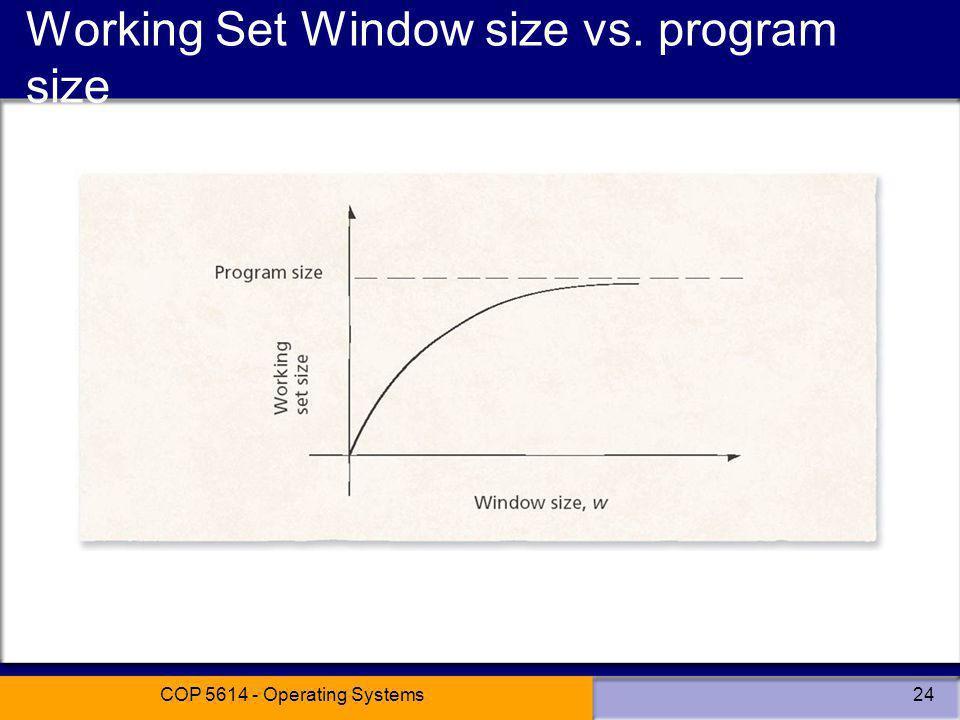 Working Set Window size vs. program size