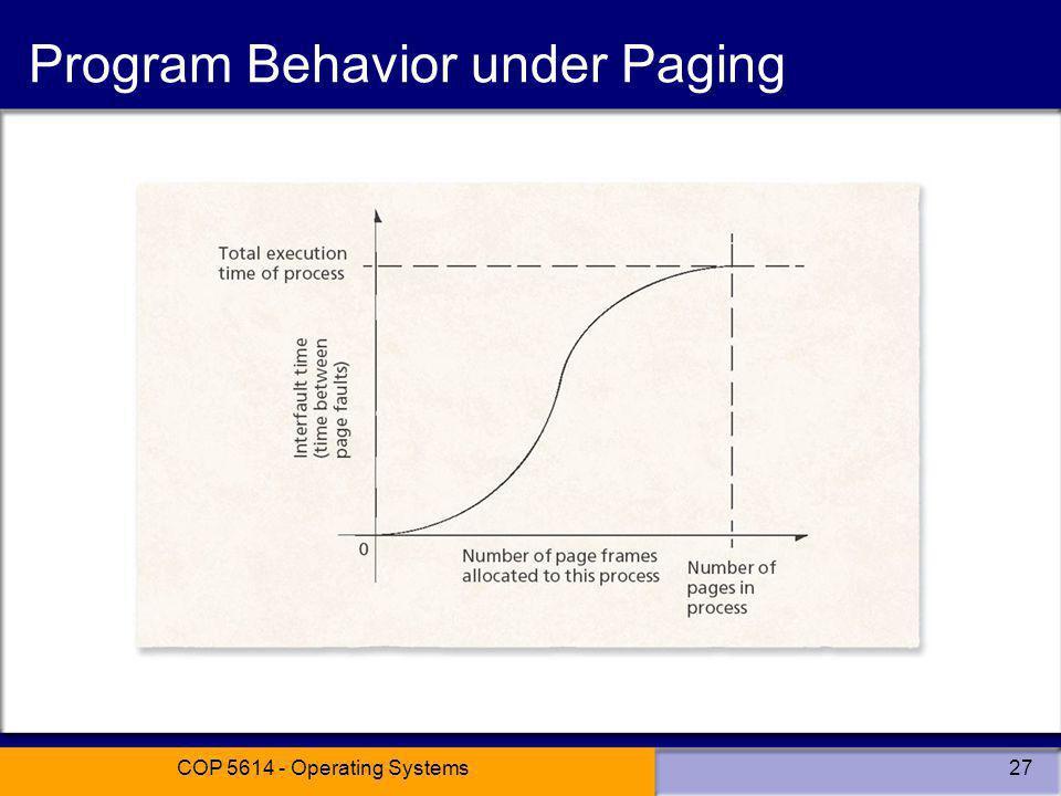 Program Behavior under Paging