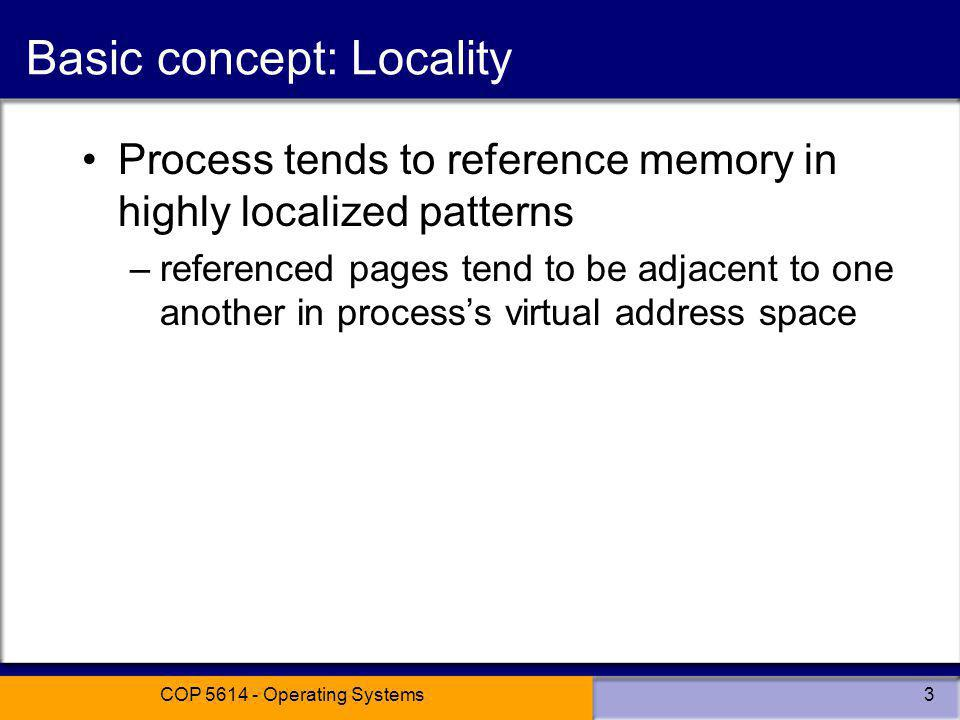 Basic concept: Locality