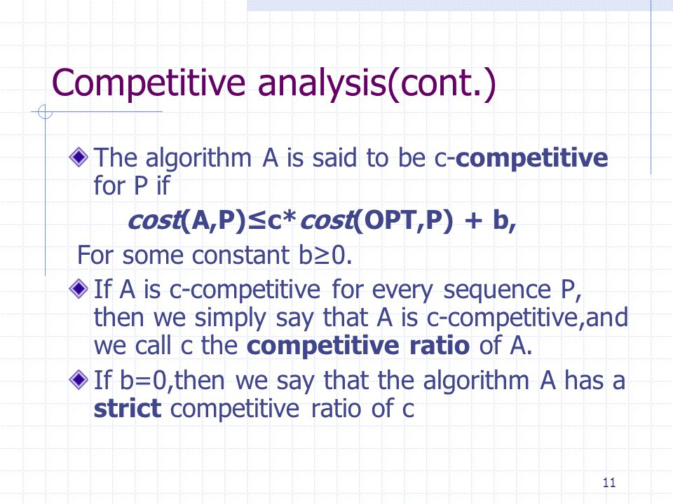 Competitive analysis(cont.)