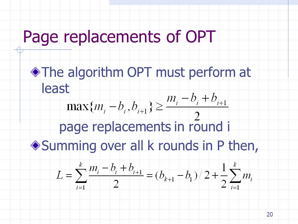 Page replacements of OPT