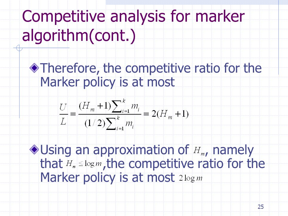 Competitive analysis for marker algorithm(cont.)