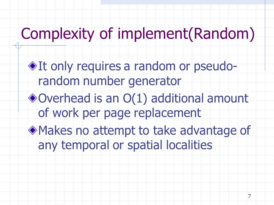 Complexity of implement(Random)
