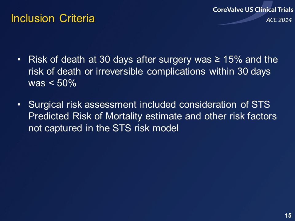 Inclusion Criteria Risk of death at 30 days after surgery was ≥ 15% and the risk of death or irreversible complications within 30 days was < 50%
