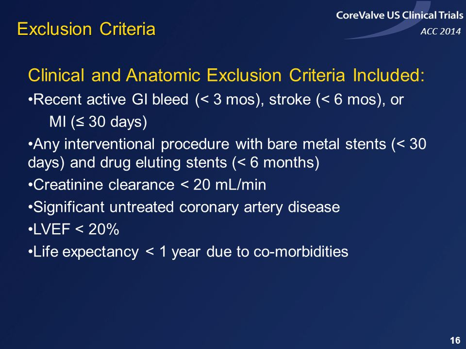 Clinical and Anatomic Exclusion Criteria Included: