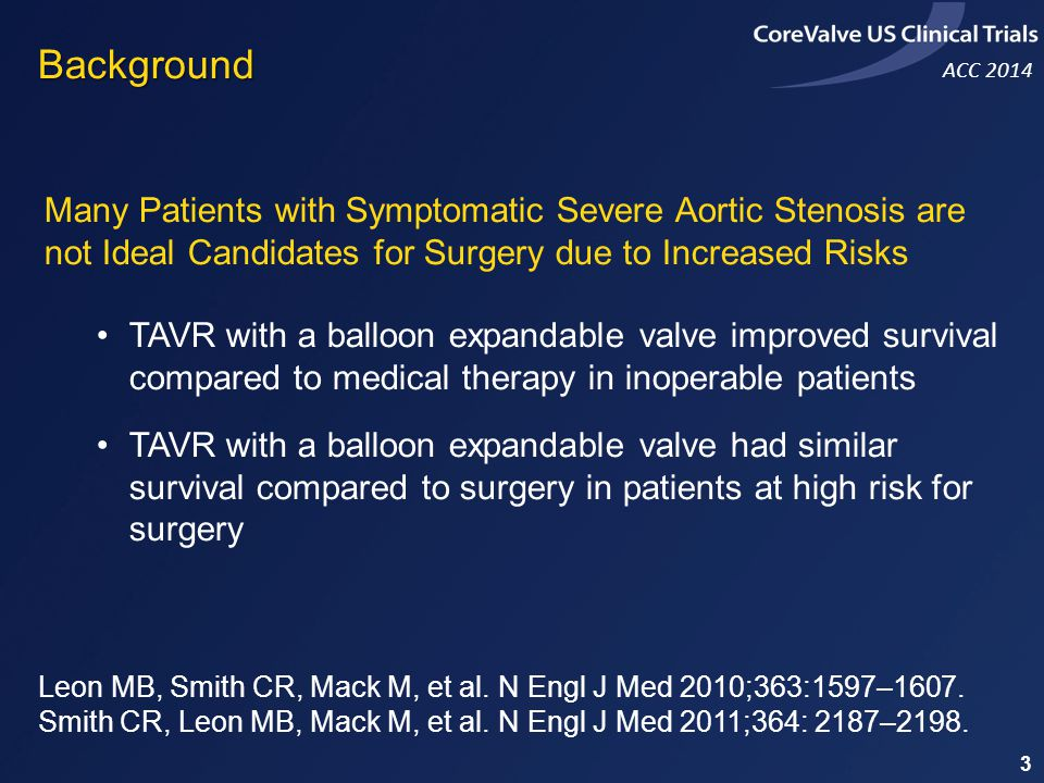 Background Many Patients with Symptomatic Severe Aortic Stenosis are not Ideal Candidates for Surgery due to Increased Risks.