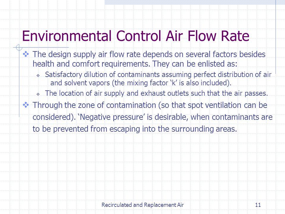 Environmental Control Air Flow Rate