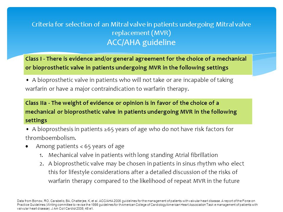 Criteria for selection of an Mitral valve in patients undergoing Mitral valve replacement (MVR) ACC/AHA guideline