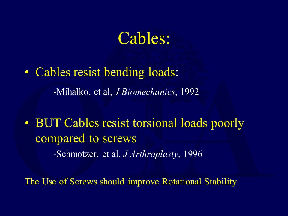 Cables: Cables resist bending loads: