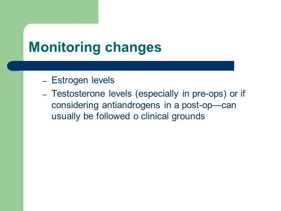 Monitoring changes Estrogen levels