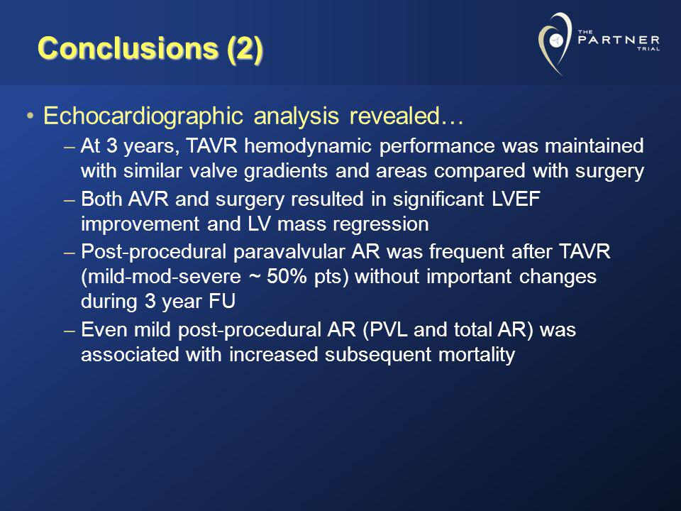 Conclusions (2) Echocardiographic analysis revealed…