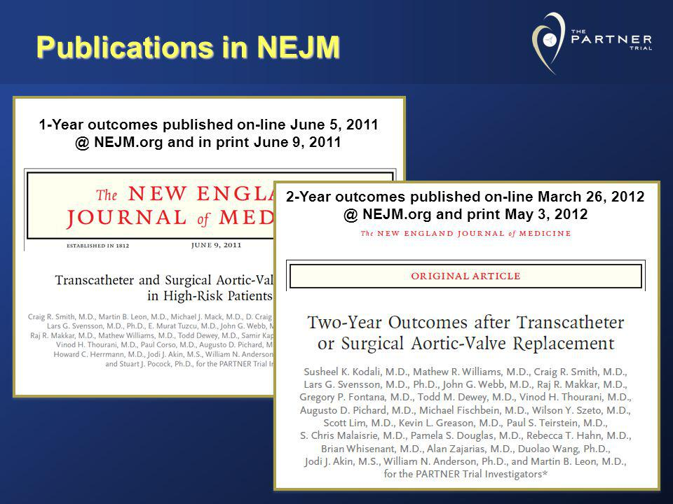 Publications in NEJM 1-Year outcomes published on-line June 5, 2011 @ NEJM.org and in print June 9, 2011.
